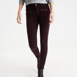 - American Eagle HI RISE burgundy jeggings 2